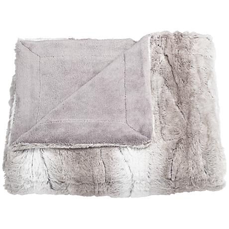 Linn Gray Faux Fur Throw Blanket