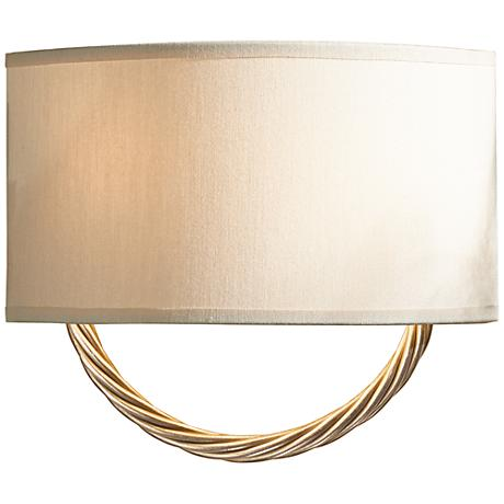 "Hubbardton Forge Cavo Gold 8 3/4""H Flax Shade Wall Sconce"