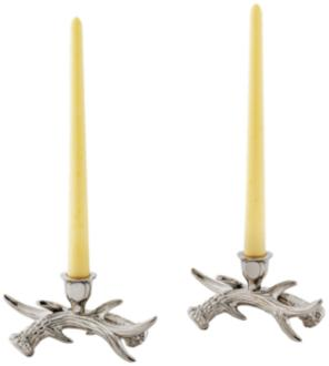 Stag Antler Polished Nickel Taper Candle Holder Set of 2 (8T849) 8T849