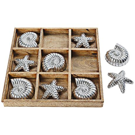 Seashore Tic Tac Toe Starfish and Conch Wood Game Board