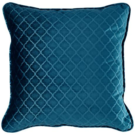 "Dark Turquoise Blue Velvet Quatrefoil 18"" Square Pillow"