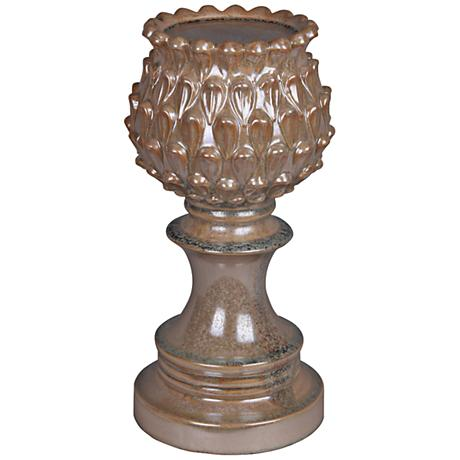 "Horse Chestnut 15 1/2"" High Pedestal Pillar Candle Holder"