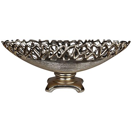 "Abstract Fret 20"" Wide Oval Silver Ceramic Bowl on Stand"
