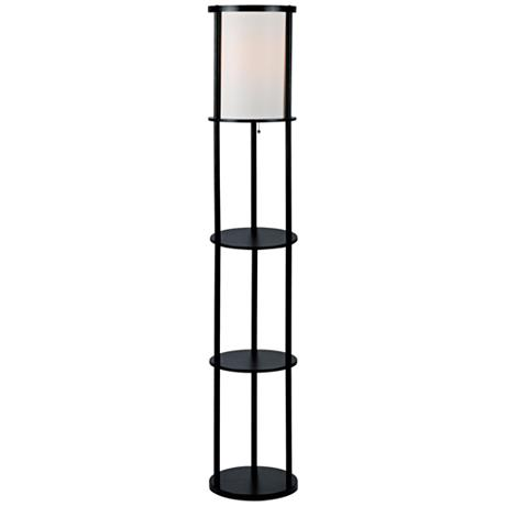 Lite source laina black 3 tier shelf floor lamp for 3 tier floor lamp