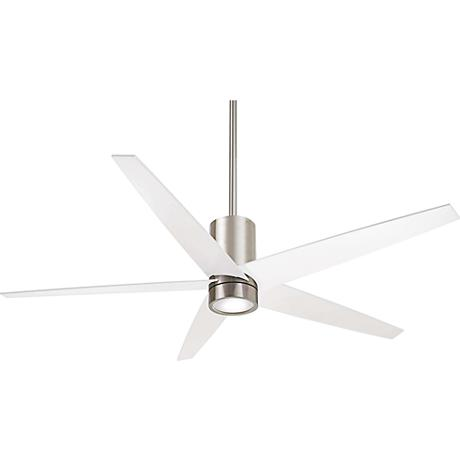 56 Quot Minka Aire Symbio White Nickel Led Ceiling Fan