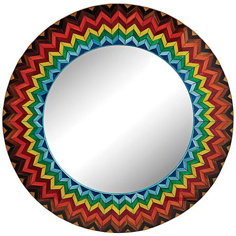 Vibrant Starburst 32 Quot Round Multi Color Wall Mirror