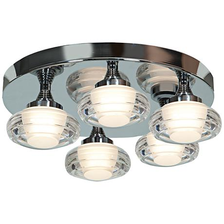 "Optix Acrylic 16"" Wide 5-Light LED Chrome Ceiling Light"