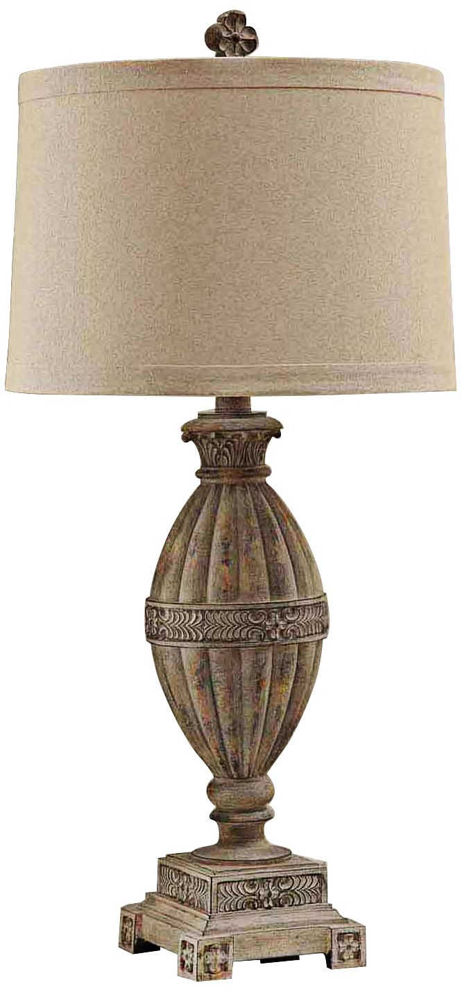 Crestview Collection McCoy Coastal Sand Wood Table Lamp