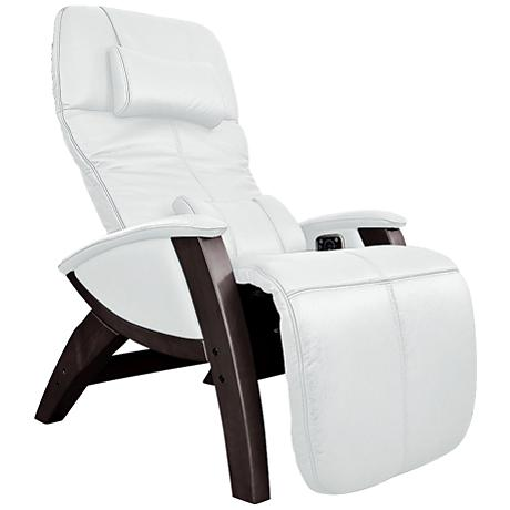 Svago Lusso Ivory and Walnut Zero Gravity Massage Chair - Style # 8V596