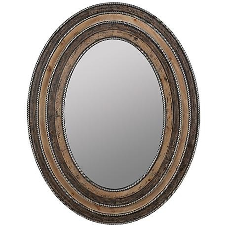 "Alessia Aged Wood 29 1/2""x37 3/4"" Decorative Wall Mirror"
