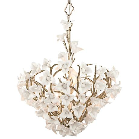 "Corbett Lily 26 1/4"" Wide Silver Leaf Pendant Light"