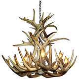 "Antler 24"" Wide Natural-Shed Whitetail 9-Light Chandelier"