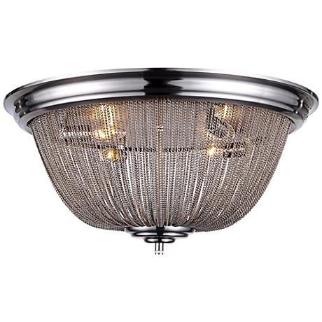 "Paloma 24"" Wide Pewter Chain 4-Light Nickel Ceiling Light"