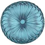 "Teal Blue Ruched Tufted 14"" Round Decorative Pillow"