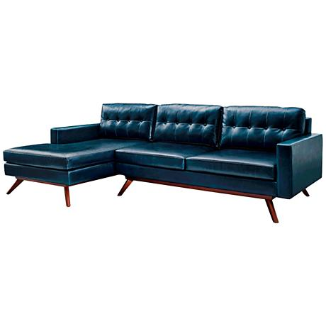 Blake Blue Left Hand-Facing Sectional Sofa with Chaise
