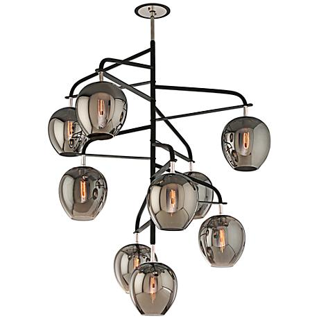 "Odyssey 47"" Wide Black and Smoked Glass Pendant Light"