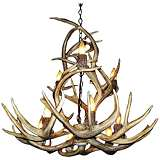 "Antler 27-29""W Natural-Shed Mule Deer 9-Light Chandelier"