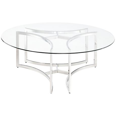 Santana Round Silver And Clear Glass Coffee Table 8X610 Www