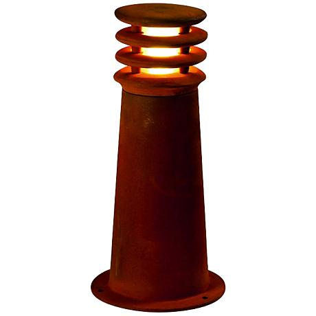 "Rusty 15 3/4"" High Rusted Iron Bollard Landscape Light"