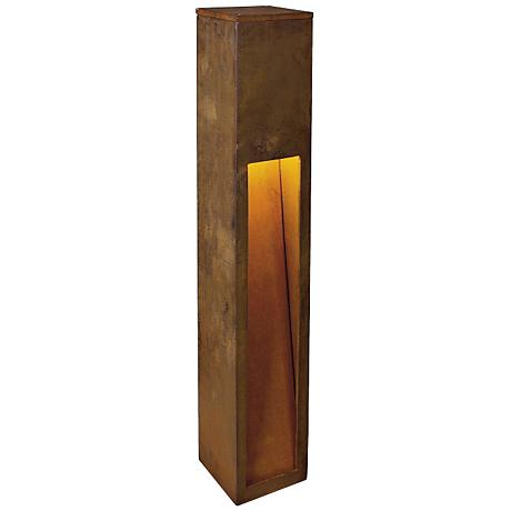 "Rusty Slot 31 1/2"" High Rusted Iron Bollard Landscape Light"