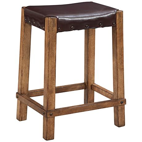 "Homestead 25"" Bonded Leather Oak Wood Counter Stool"