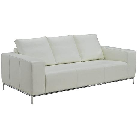 Linea White Leather Upholstered Sofa