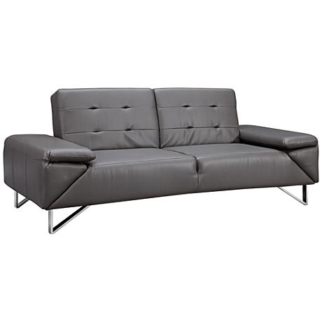 London Gray Faux Leatherette Upholstered Sleeper Sofa
