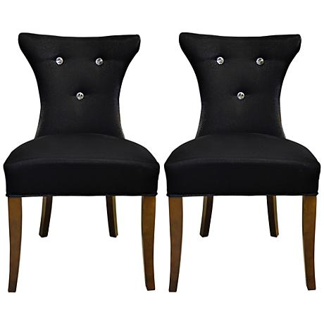 Cosmo Diamond Tufted Black Faux Silk Side Chair Set of 2
