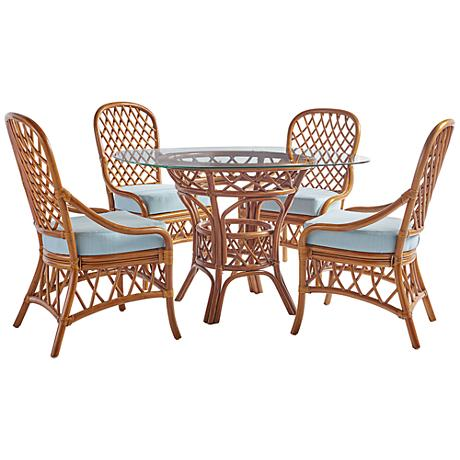 Antigua Natural Rattan 5-Piece Round Patio Dining Set