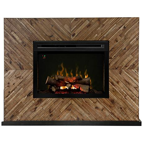 Harris Chevron Wood Mantel Multi-Flame Electric Fireplace