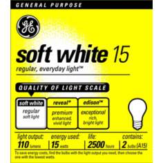 GE 15 Watt 2-Pack Soft White Light Bulbs