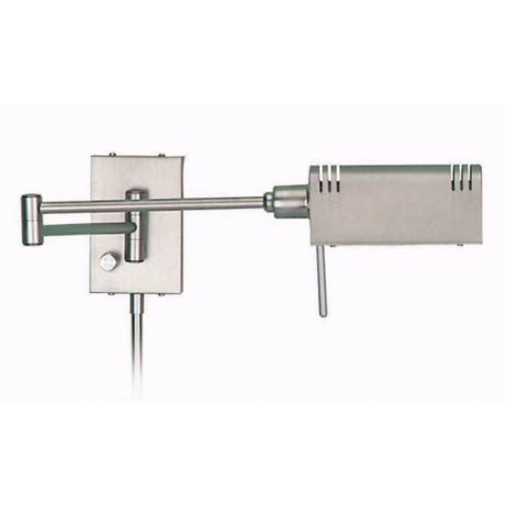 Lite Source Satin Steel Pharmacy Plug-In Swing Arm Wall Lamp