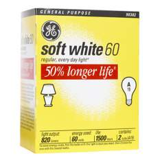 GE 60 Watt 2-Pack Long Life Light Bulbs