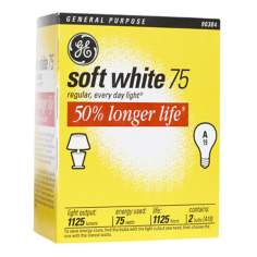 GE 75 Watt 2-Pack Long Life Light Bulbs