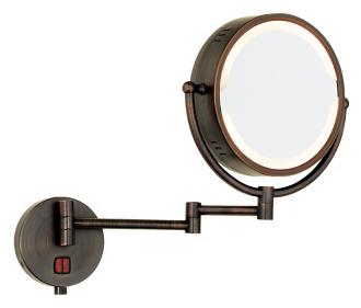 Oil Rubbed Bronze Swing Arm Plug-In Lighted Vanity Mirror (90372)