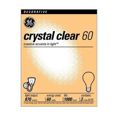 GE 60 Watt 2-Pack Clear Light Bulbs