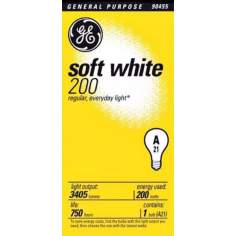 GE 200 Watt Soft White Light Bulb