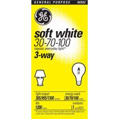 GE 3-Way Soft White Bulb -  30/70/100 Watts