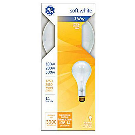 GE 3-Way 100-200-300 Watt Mogul Base Light Bulb