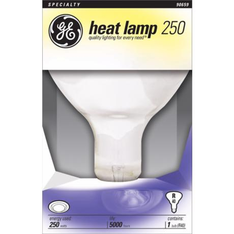 ge 250 watt r 40 standard base heat lamp bulb 90659. Black Bedroom Furniture Sets. Home Design Ideas