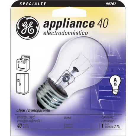 appliance light bulb a15 clear 40 watt by ge general electric. Black Bedroom Furniture Sets. Home Design Ideas