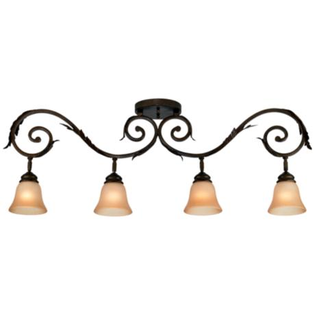Pro Track® Bronze Scroll Arm with Amber Glass Track Fixture