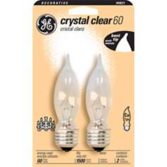 GE 60 Watt Medium Base 2-Pack Clear Bent Tip Bulbs