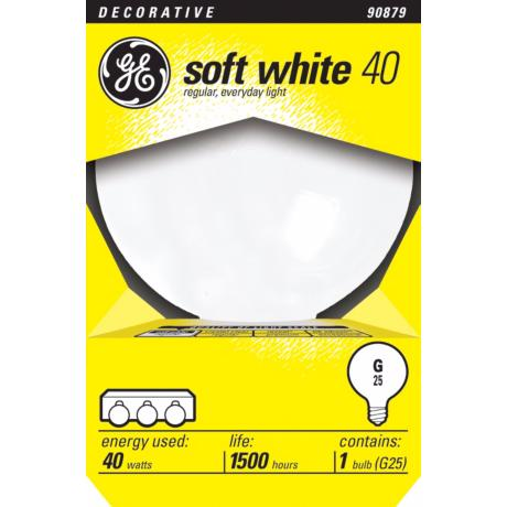GE 40 Watt G25 Medium Base White Light Bulb