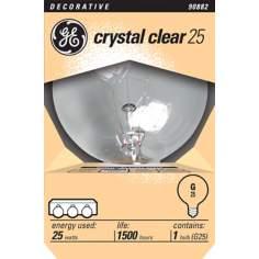 GE Crystal Clear 25 Watt Globe Light Bulb