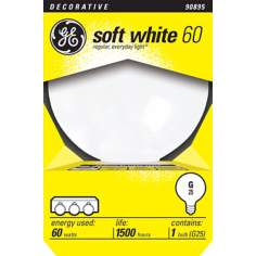 GE 60 Watt G25/ Medium Base Globe Light Bulb
