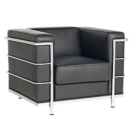 Zuo Fortress Black Leather Cube Arm Chair