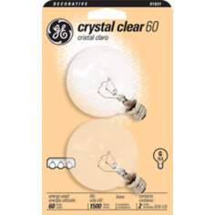 GE 60 Watt 2-Pack Clear G-16 Candelabra Light Bulbs