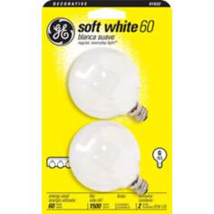 GE 60 Watt G16-1/2 Globe 2-Pack Candelabra Base Light Bulbs