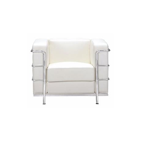 Zuo Fortress White Leather Cube Arm Chair